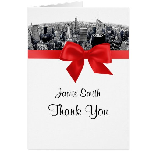 NYC Etched Fisheye Skyline BW Red Thank You Greeting Cards