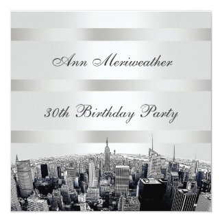 NYC Etched Skyline 2 Black White Birthday Card