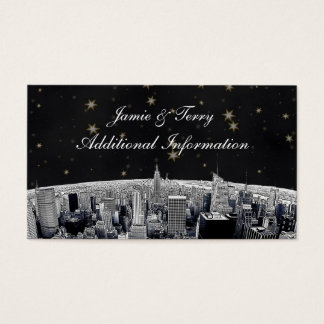 NYC Etched Skyline Blue Gold Stars Insert Card