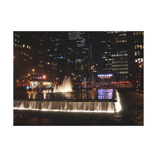 NYC Fount of night life Stretched Canvas Print