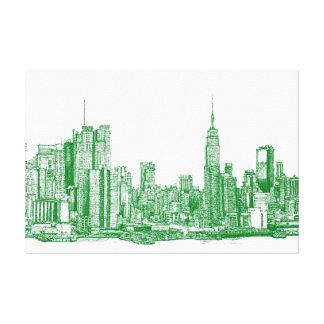 NYC green sketch Canvas Prints