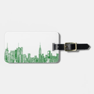 NYC green sketch Tags For Luggage