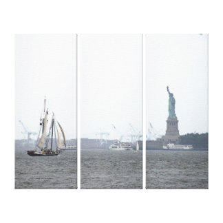 NYC Harbor and Lady Liberty in Fog Triptych Canvas Print