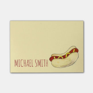 NYC Hot Dog w/ Mustard Personalized Post Its Post-it Notes