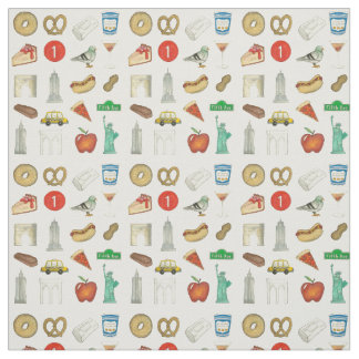 NYC Icons New York City Landmark Food Taxi Apple Fabric