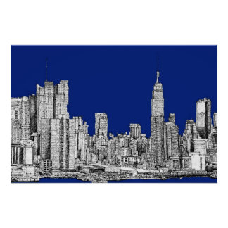 NYC ink royal blue Posters