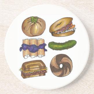 NYC Jewish Deli Bagel Knish Blintz Reuben Pickle Coaster