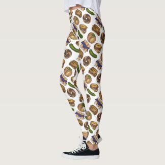 NYC Jewish Deli Food Pickle Blintz Bagel Knish Lox Leggings