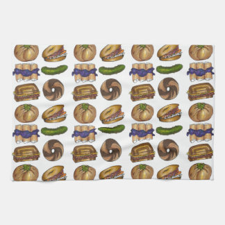 NYC Jewish Deli Food Pickle Blintz Bagel Knish Lox Tea Towel