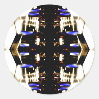 NYC Landmarks Purple Light Groove Futurism Round Sticker