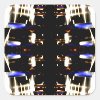 NYC Landmarks Purple Light Groove Futurism Square Sticker