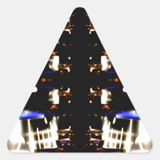 NYC Landmarks Purple Light Groove Futurism Triangle Sticker
