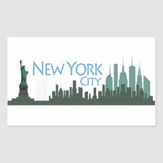 NYC Liberty Skyline Rectangular Sticker