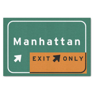 NYC Manhattan Exit Interstate Highway Freeway Road Tissue Paper