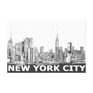 NYC monochrome skyline text Canvas Prints