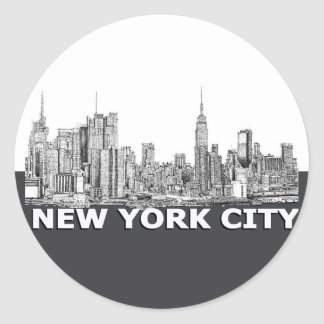 NYC monochrome skyline text Classic Round Sticker