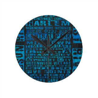 NYC Neighborhoods Blue Round Clock