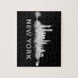 NYC New York black-White Skyline cityscape v01 Jigsaw Puzzle