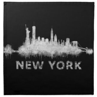 NYC New York black-White Skyline cityscape v01 Napkin