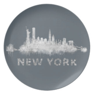 NYC New York black-White Skyline cityscape v01 Plate