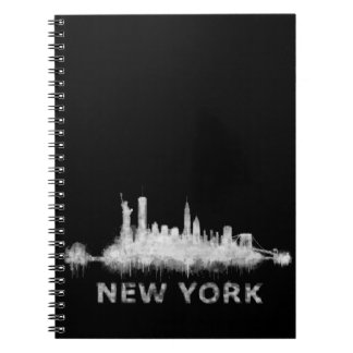 NYC New York black-White Skyline cityscape v01 Spiral Notebooks