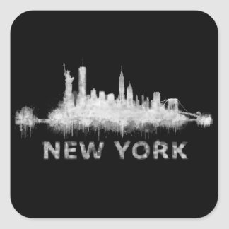NYC New York black-White Skyline cityscape v01 Square Sticker