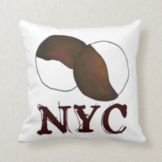 NYC New York City Black and White Cookie Pillow