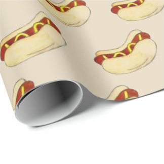 NYC New York City Hot Dog Mustard Bun Street Meat Wrapping Paper