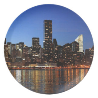 NYC New York City Manhattan Night Dinner Plate