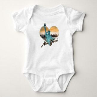NYC New York City Skyline Souvenir Lady Liberty Baby Bodysuit