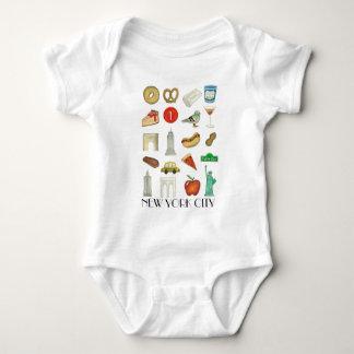 NYC New York City Tourist Trip Icons Landmarks Baby Bodysuit