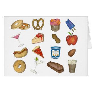 NYC New York Foodie Pizza Bagel Pretzel Cheesecake Card