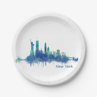 NYC New York Skyline v5 Paper Plate