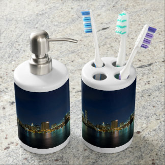 NYC night skyline Soap Dispenser & Tooth