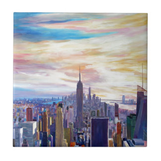 NYC Panorama with Chrysler and Empire State Tile