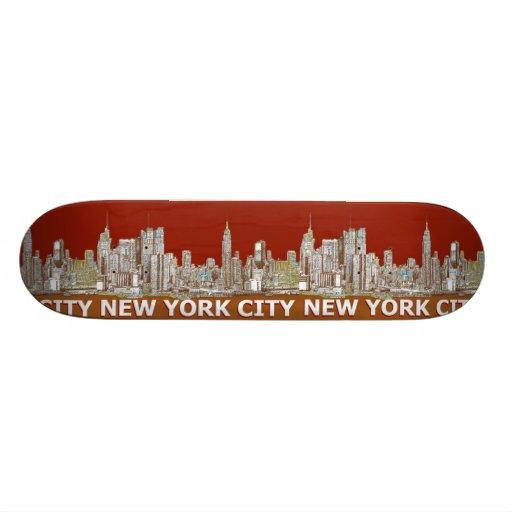 NYC red text orange Skate Decks