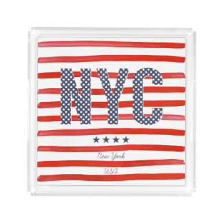 NYC | Red, White & Blue Design Acrylic Tray