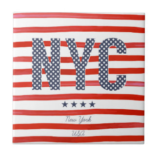 NYC | Red, White & Blue Design Ceramic Tile
