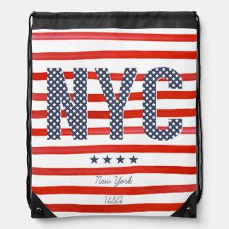 NYC | Red, White & Blue Design Drawstring Bag