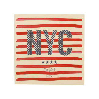 NYC | Red, White & Blue Design Wood Wall Decor