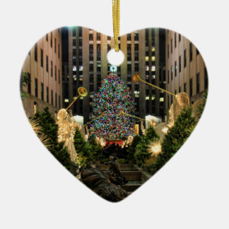 NYC Rockefeller Center Christmas Tree, Angels H Ceramic Heart Decoration