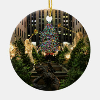 NYC Rockefeller Center Christmas Tree, Angels Round Ceramic Decoration