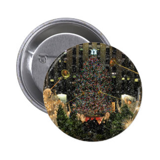 NYC Rockefeller Center Xmas Tree Falling Snow Pinback Buttons