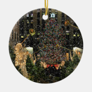 NYC Rockefeller Center Xmas Tree Falling Snow Ornaments