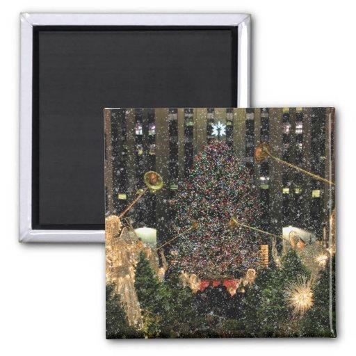 NYC Rockefeller Center Xmas Tree Falling Snow Fridge Magnet