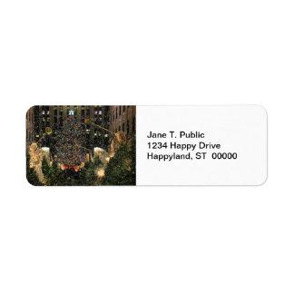 NYC Rockefeller Center Xmas Tree Falling Snow Return Address Label