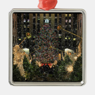 NYC Rockefeller Center Xmas Tree Falling Snow Silver-Colored Square Decoration