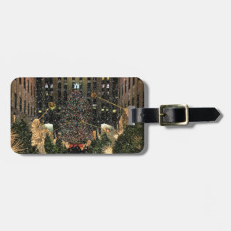 NYC Rockefeller Center Xmas Tree Falling Snow Tags For Bags