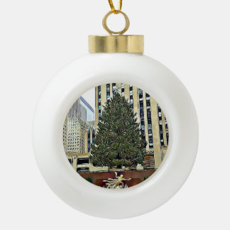 NYC Rockefeller Tree Skating Rink Christmas Ceramic Ball Christmas Ornament