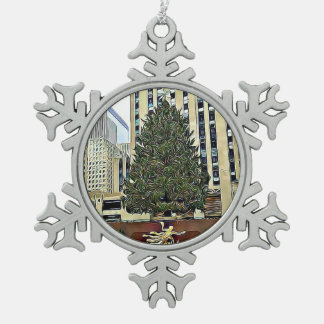 NYC Rockefeller Tree Skating Rink Christmas Snowflake Pewter Christmas Ornament